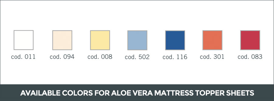 Available colors for aloe vera mattress topper sheets