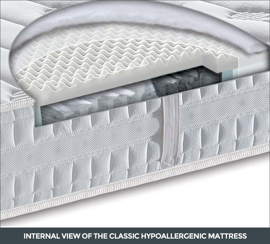 Internal view of the classic hypoallergenic mattress