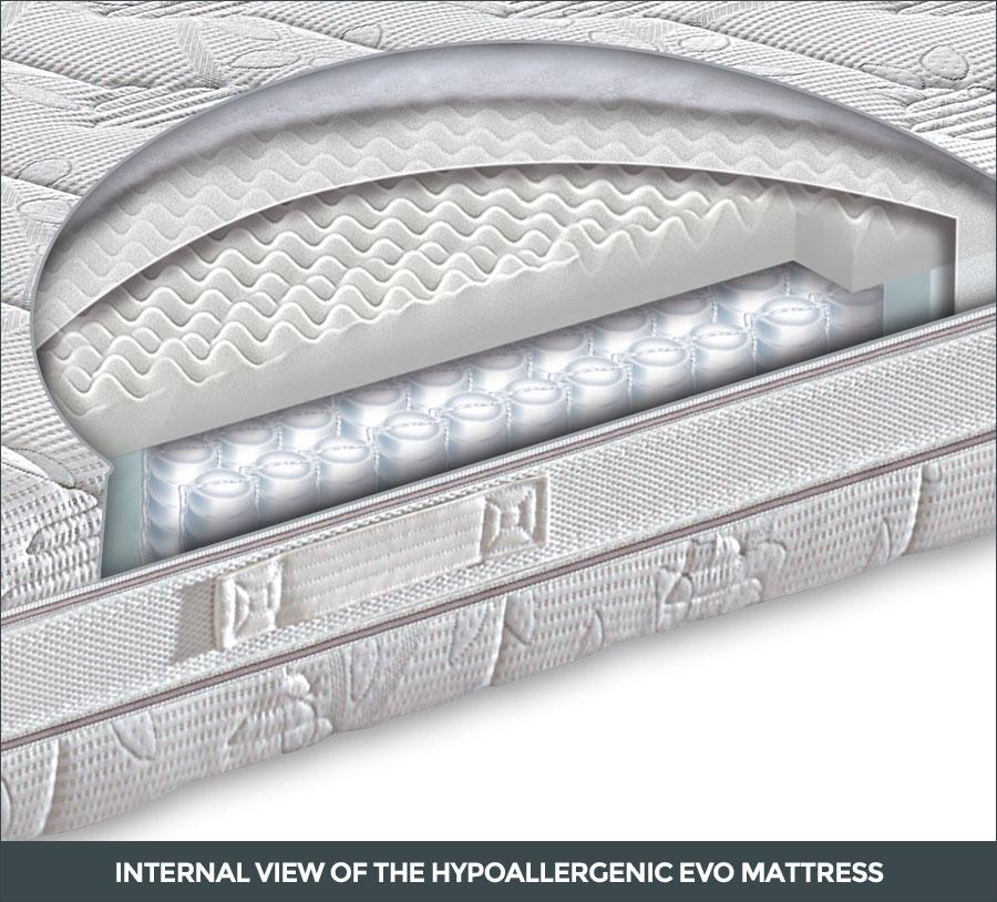 Internal view of the Hypoallergenic Evo mattress