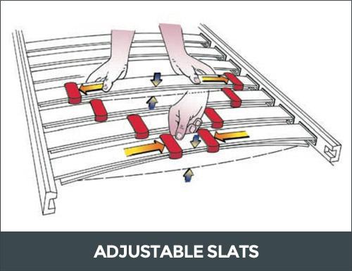Bed base adjustable slats
