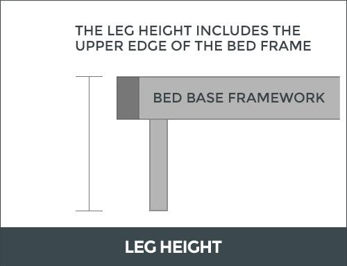 Bed base leg height