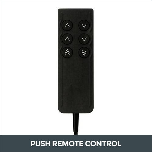 Push remote control bed base adjustment