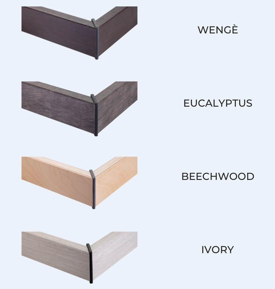 Available finishes for the framework and bed legs